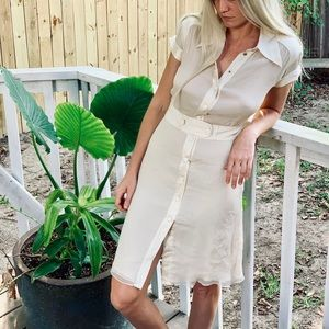 Collared Ivory button up dress